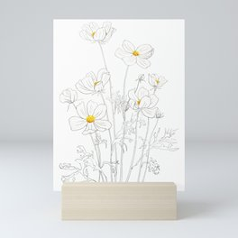 white cosmos flowers  ink and watercolor Mini Art Print