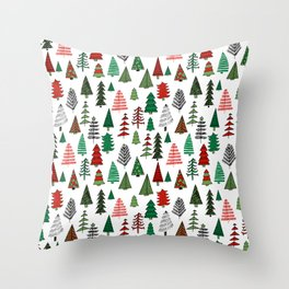 Christmas tree forest minimal scandi patterned holiday forest winter Throw Pillow