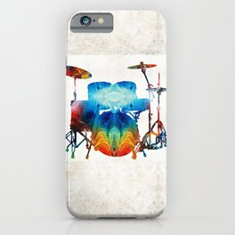 Drum Set Art - Color Fusion Drums - By Sharon Cummings iPhone Case