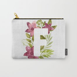 Monogram F with red waercolor flowers and green leaves. Floral letter F. Botanical illustration. Carry-All Pouch