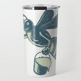 Honey Bee Waving With Pail of Honey Scratchboard Travel Mug