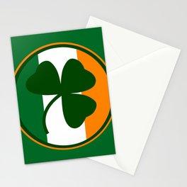 Green and orange Irish logo, shamrock  Stationery Cards