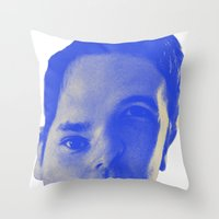 chad wys Throw Pillows featuring Bad Chad Head by Blake Makes Tees