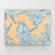 Ocean Blue Palm Leaves on Coral Apricot Laptop & iPad Skin
