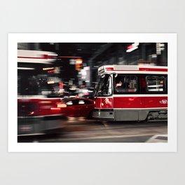 Red buses street Art Print