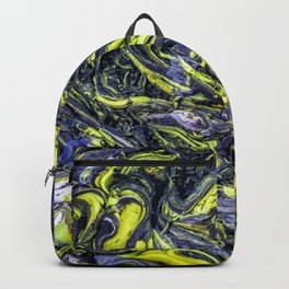 Liquid Oil Art Abstract Blue Yellow Gel Backpack