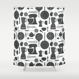 Kitchen Tools (black on white) Shower Curtain