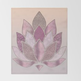 Elegant Glamorous Pink Rose Gold Lotus Flower Throw Blanket