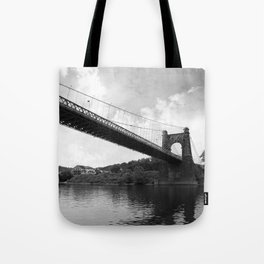 Wheeling Suspension Bridge - B&W Tote Bag