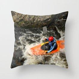 Orange Kayak Paddling Throw Pillow