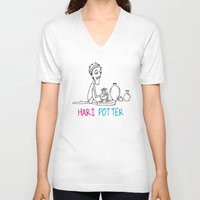 potter V-neck T-shirts featuring Hari Potter by tantra