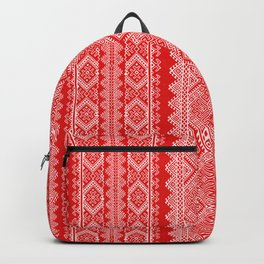 Ukrainian embroidery red and white Backpack