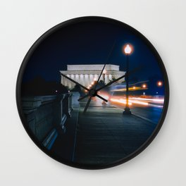 Traffic At Night On The Memorial Bridge Wall Clock