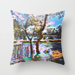 Trees Pond and Light Streams Throw Pillow