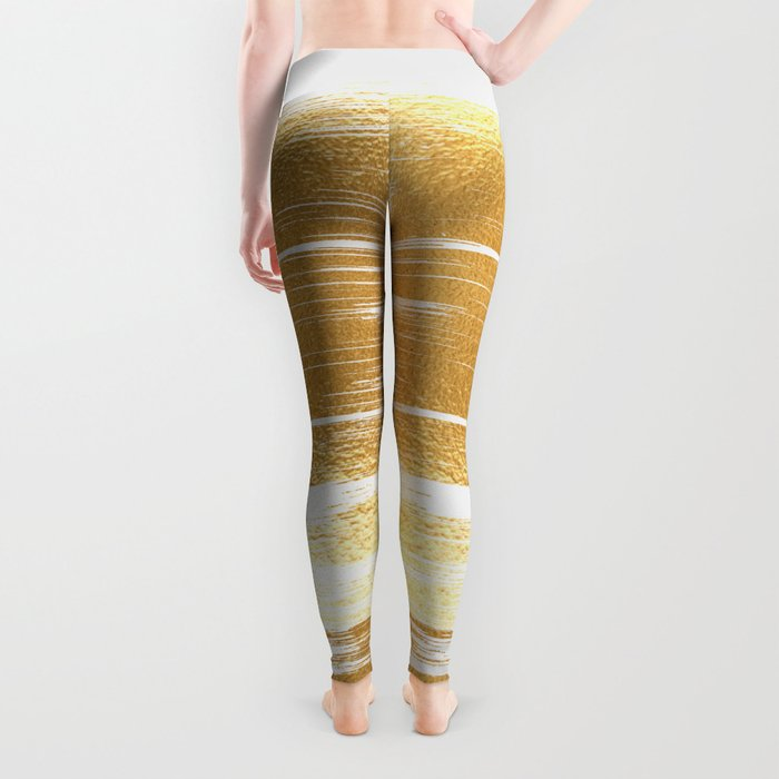 Abstract faux gold white modern paint brushstrokes Leggings