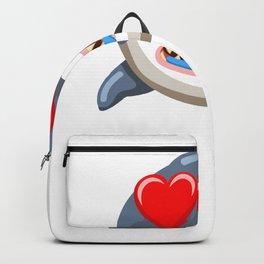 Funny Shark Cartoon Love Shark Backpack
