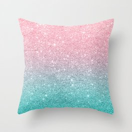 Salmon Pink To Turquoise-Blue Sparkling Glitter Throw Pillow