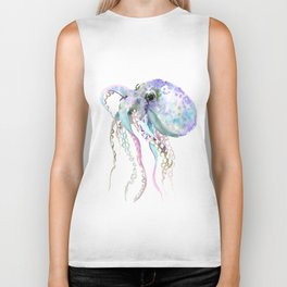 Octopus soft gray violet, turquoise soft colored octopus design beautiful octopus decor Biker Tank