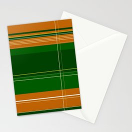 Green and Orange Plaid Stationery Cards
