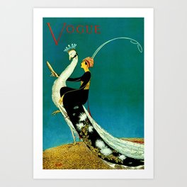 Vintage 1920's Jazz Age Flapper with White Peacock Fashion Poster Art Print