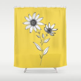 Wildflower line drawing | Botanical Art Shower Curtain