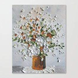 White flowers in Vintage Bucket with Fall colors Canvas Print