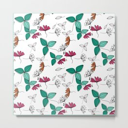 Retro .Floral pattern Rustic Metal Print
