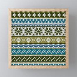 Fair Isle Green - Blue Framed Mini Art Print