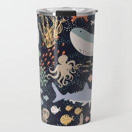 Sea Ocean World Fish Whale Octopus Shark Jellyfish Star Illustration Travel Mug