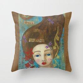 I Have Big Dreams, Mixed Media Artwork Throw Pillow