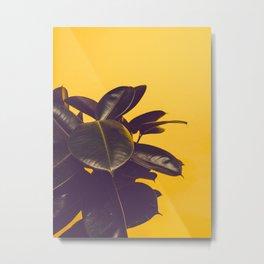 Mid Century Modern Yellow Background Color Pop Minimalist Plant Leaves Metal Print