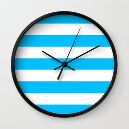Deep sky blue - solid color - white stripes pattern Wall Clock
