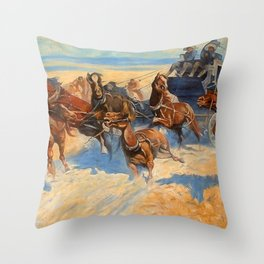 Frederic Remington Downing the Nigh Leader 1907 Throw Pillow