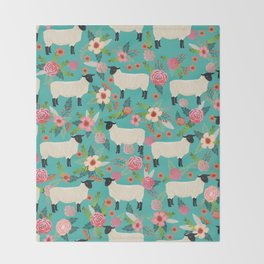 Suffolk Sheep farm floral cute animals sheep lover nature florals pattern homestead gifts Throw Blanket