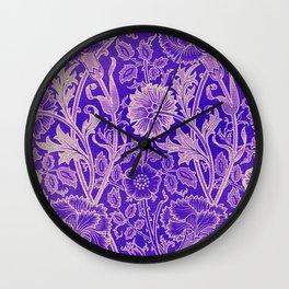 Colorful blue Flowers Wallpaper design pattern Wall Clock
