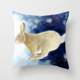 Hippety Hop Bunny Throw Pillow