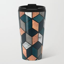 Copper, Marble and Concrete Cubes with Blue Travel Mug