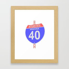 Interstate highway 40 road sign in Arizona Framed Art Print