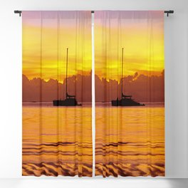 Tropical Sunset and Sailboat Silhouette in South Pacific Blackout Curtain