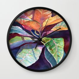Colorful Tropical Leaves 3 Wall Clock