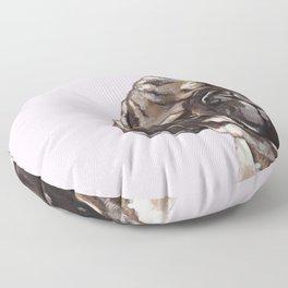 Sneaky Melancholic Pug in Pink Floor Pillow