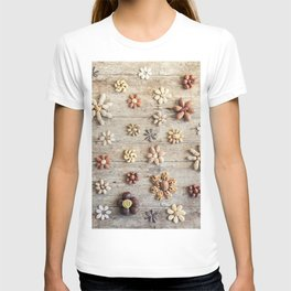 Dried fruits arranged forming flowers (4) T-shirt