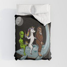 Alien Unicorn Bigfoot Riding Loch Ness Monster Conspiracy Comforters