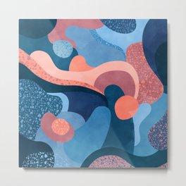 Terrazzo galaxy blue wave pink Metal Print