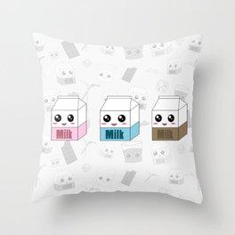 Kawaii Milk Cartons Throw Pillow