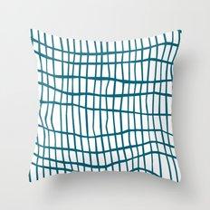 Net Blue on White Throw Pillow