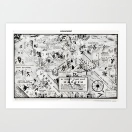 1932 Night-Club Map of Harlem, NY Centerfold from Manhattan Weekly by Elmer Simms Campbell Art Print
