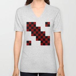 Black and burgundy squares Unisex V-Neck