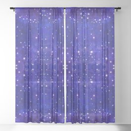Fractal Galaxy Blues Sheer Curtain