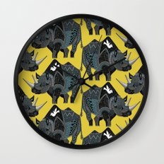 rhinoceros yellow Wall Clock